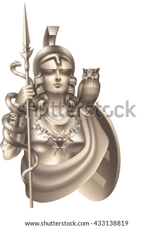 Raster version / Goddess Athena with a snake and an owl on a white background