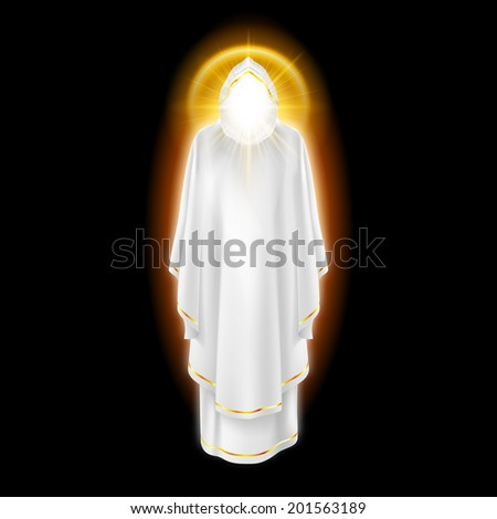 Raster version. Gods guardian angel in white dress with golden radiance.  Religious concept - stock photo