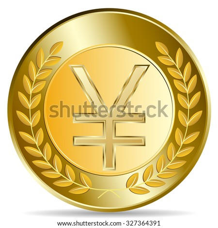 Raster version. Gold coin with yen sign. illustration isolated on white background - stock photo