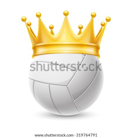 Raster version. Gold crown on a volleyball ball isolated on white - stock photo