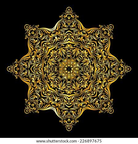 Raster version. gold decoration similar a flower on black background  - stock photo