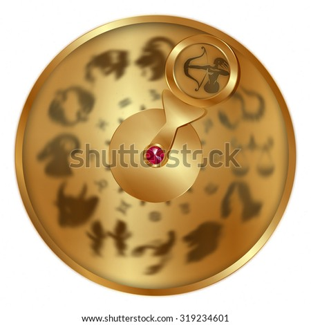 raster version gold disc with signs of the zodiac, Sagittarius separately allocated. Isolated object to any suitable illustration. - stock photo