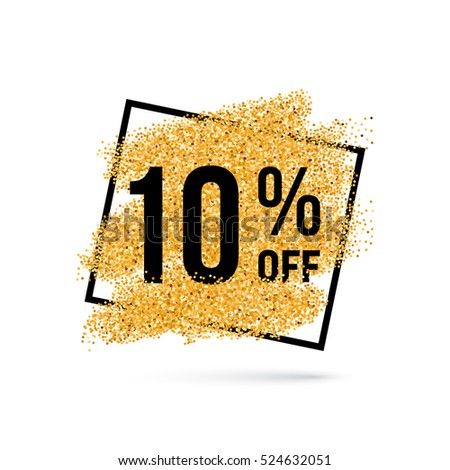 Raster version. Gold Discount Background for Sale Sign with Ten Percent
