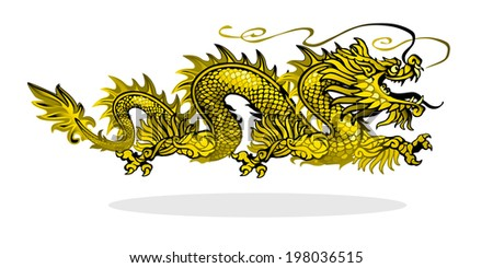 Raster version / Golden Chinese dragon on white background - stock photo