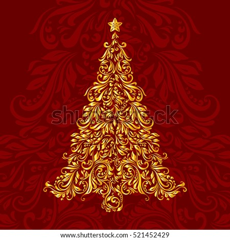 Raster version. Golden Christmas tree made of floral pattern over ornate background