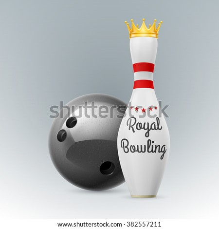 Raster version. Golden Crown at white skittles isolated on a white background. Bowling ball - stock photo