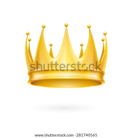 Raster version. Golden crown isolated on a white background