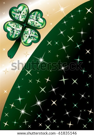 Raster version Golden Diamond Green Clover Shamrock Background with stars. There is space for text or image. - stock photo