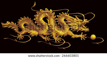 Raster version / Golden Dragon moving horizontally on a black background - stock photo