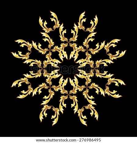 Raster version. Golden floral element on the black background - stock photo