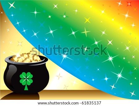 Raster version Golden Pot Gold Rainbow star Background with stars. There is space for text or image. - stock photo