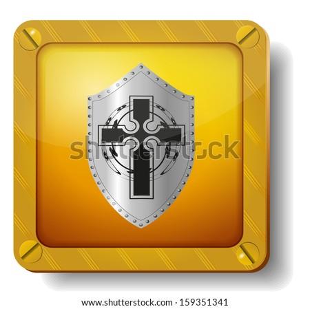 raster version golden shield icon - stock photo