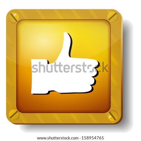 raster version golden thumb up icon - stock photo