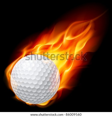 Raster version. Golf ball on fire. Illustration on black background - stock photo