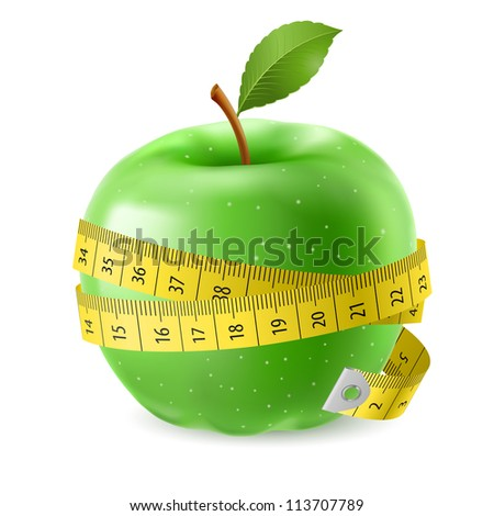 Raster version. Green apple and measure tape. Illustration on white background