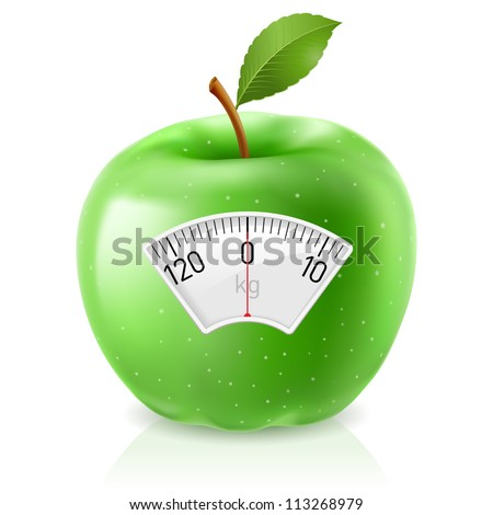 Raster version. Green Apple With Scale for a Weighing Machine - stock photo
