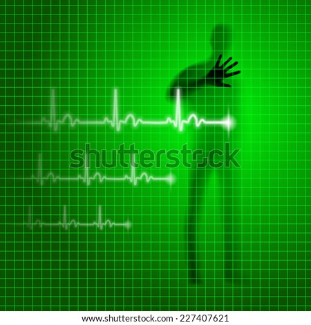 Raster version. Green medical background with human silhouette and cardiogram line  - stock photo