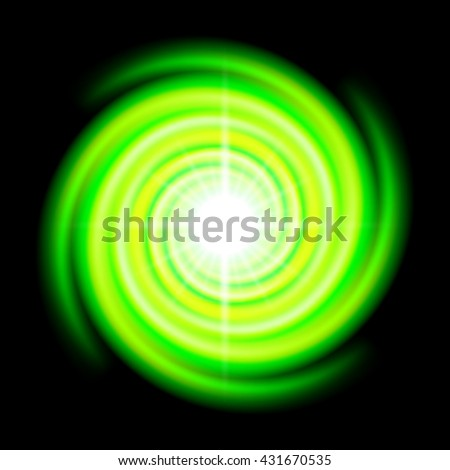 Raster version. Green space spiral with bright flare in centre over black - stock photo