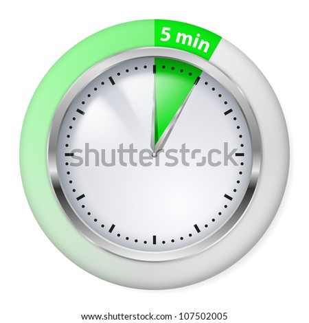 Raster version. Green Timer icon. Five minutes. Illustration on white.