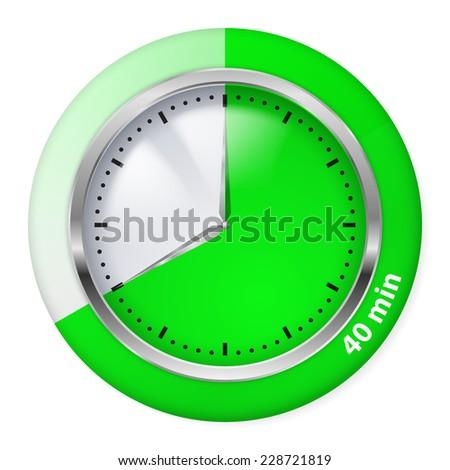 Raster version. Green Timer Icon. Forty Minutes. Illustration on white.  - stock photo