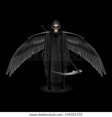 Raster version. Grim Reaper with huge wings over black background  - stock photo
