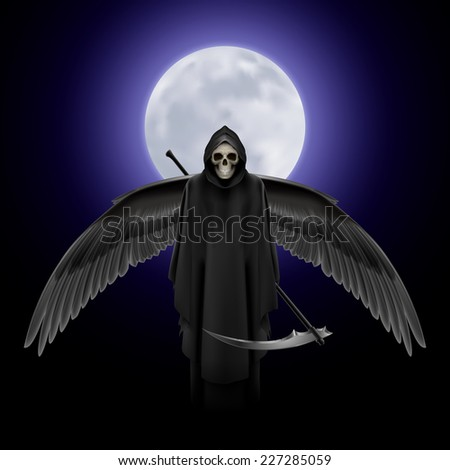 Raster version. Grim Reaper with huge wings over full moon background  - stock photo