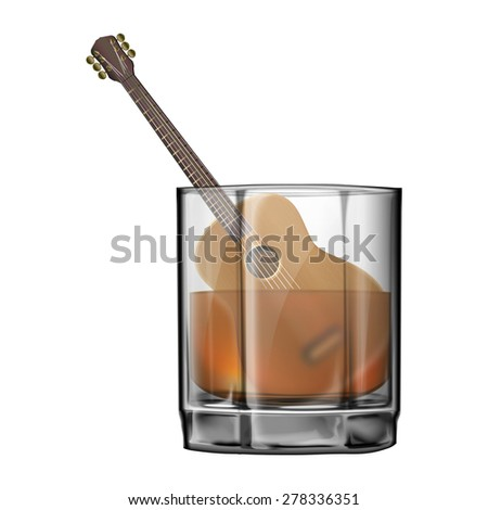 raster version Guitar in a wineglass of whiskey - stock photo