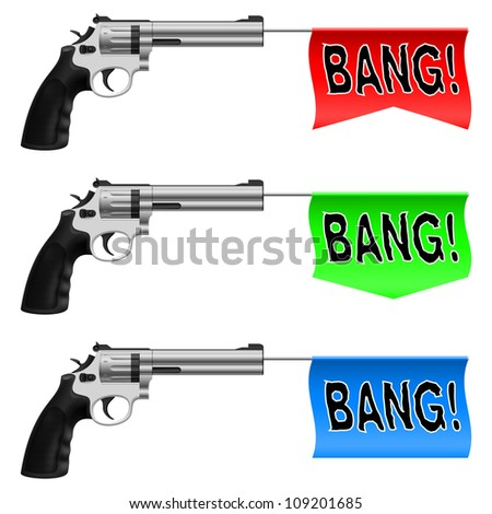 Raster version. Guns with Bang Flags. Illustration on white background