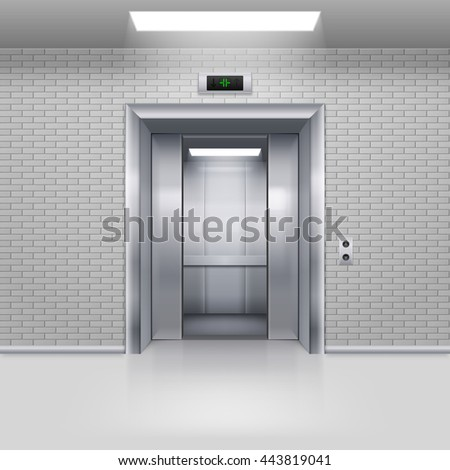 Raster version. Half Open Chrome Metal Elevator Door in a Brick Wall