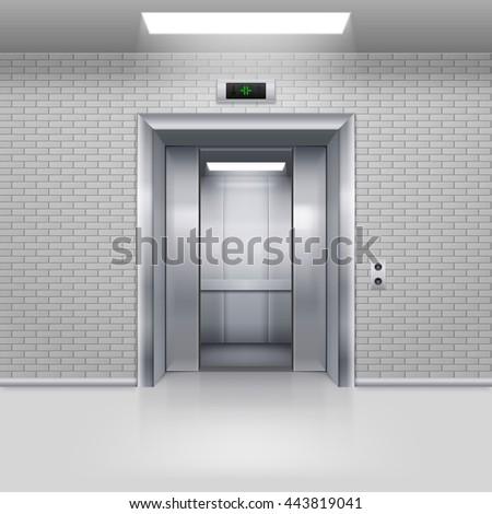 Raster version. Half Open Chrome Metal Elevator Door in a Brick Wall - stock photo