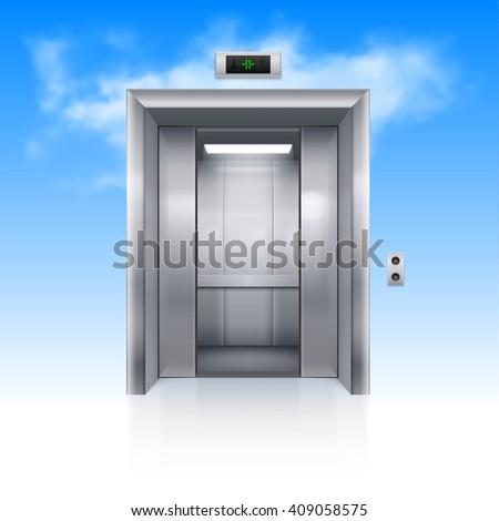 Raster version. Half Open Chrome Metal Elevator Door in Sky - stock photo