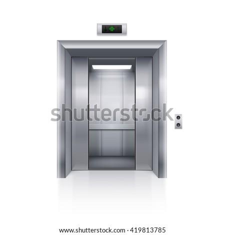 Raster version. Half Open Chrome Metal Elevator Door on White Background - stock photo