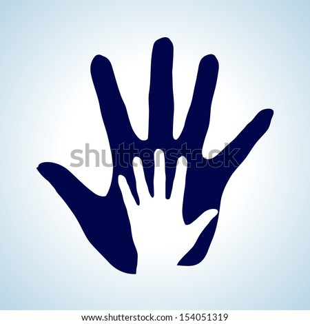 Raster version. Hand in hand illustration in white and blue rendering help, assistance and cooperation.