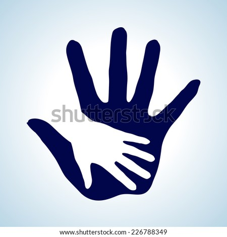 Raster version. Hand in hand illustration in white and blue. Symbol of help, assistance and cooperation.