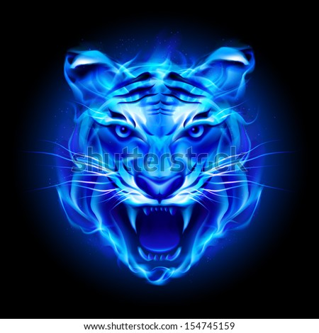 Raster version. Head of fire tiger in blue. Illustration on black  background. - stock photo