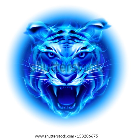 Raster version. Head of fire tiger in blue. Illustration on white  background. - stock photo