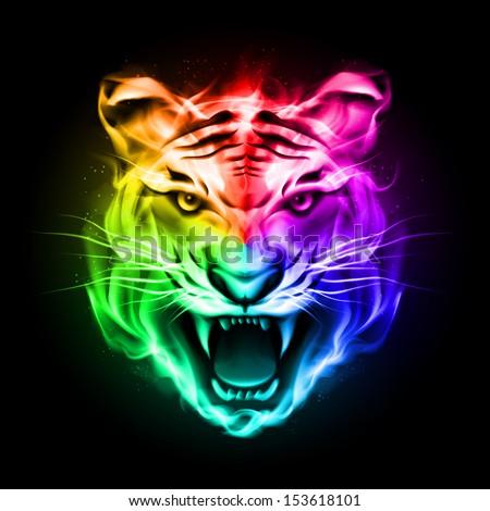 Raster version. Head of tiger blazing in spectrum fire on black background. - stock photo
