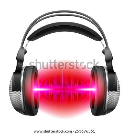 Raster version. Headphones with red and purple sound waves. Illustration on white background  - stock photo