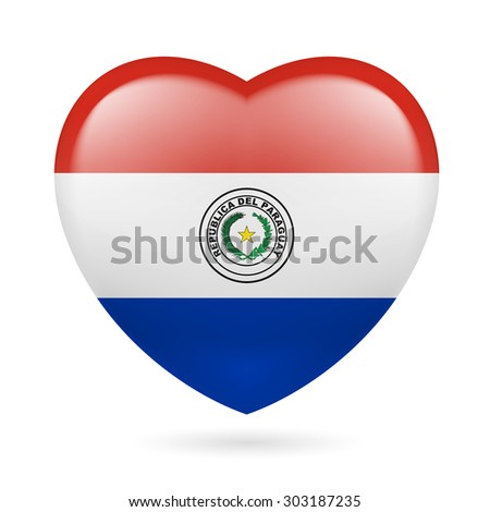 Raster version. Heart with Paraguayan flag colors. I love Paraguay - stock photo