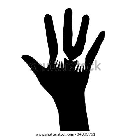 Raster version. Helping hand. Illustration on white background for design - stock photo