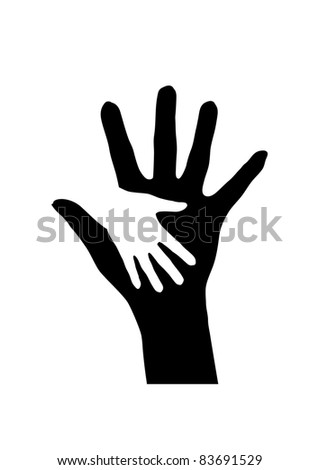 Raster version. Helping hands. Abstract illustration for design. - stock photo