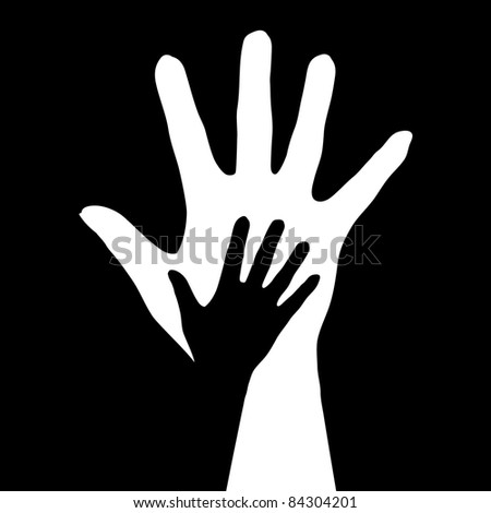 Raster version. Helping hands.  illustration on black background - stock photo