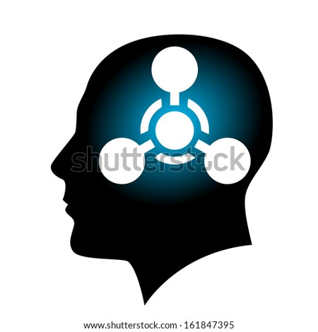 Raster version. Human face with Chemical Weapon sign. Illustration on white background for creative design - stock photo