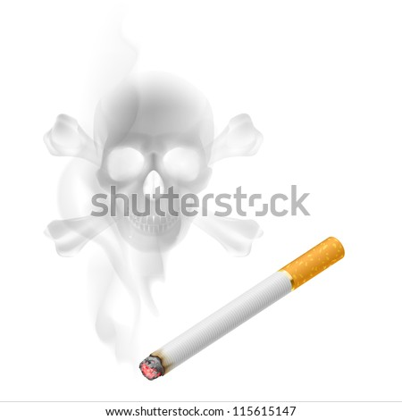Raster version. Human scull appears in Cigarette Smoke on white