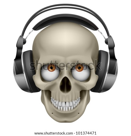 Raster version. Human skull with eye and music headphones. Illustration on white