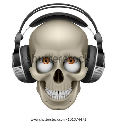 Raster version. Human skull with eye and music headphones. Illustration on white - stock photo