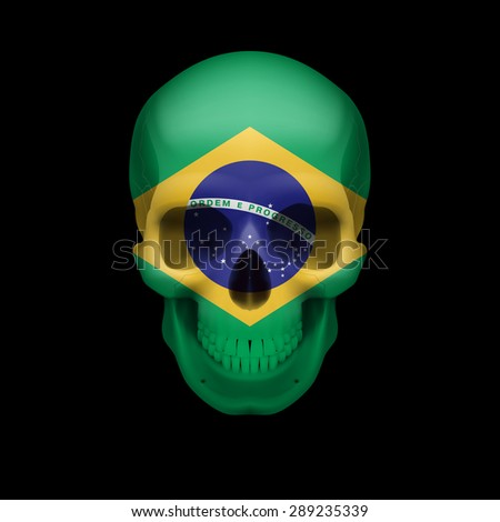 Raster version. Human skull with flag of Brazil. Threat to national security, war or dying out  - stock photo
