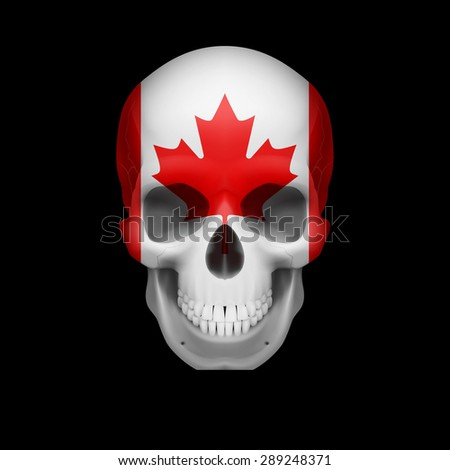 Raster version. Human skull with flag of Canada. Threat to national security, war or dying out  - stock photo