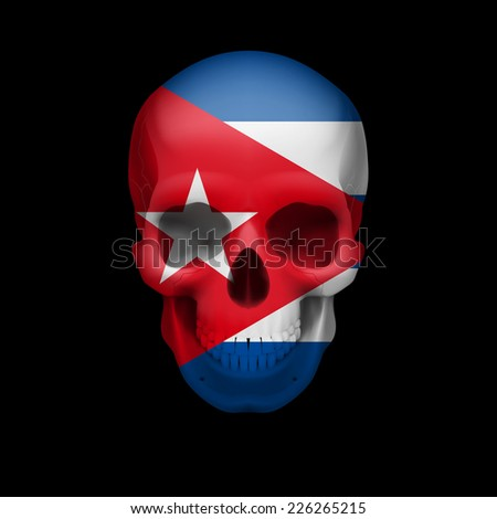 Raster version. Human skull with flag of Cuba. Threat to national security, war or dying out  - stock photo