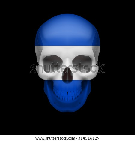 Raster version. Human skull with flag of El Salvador. Threat to national security, war or dying out - stock photo